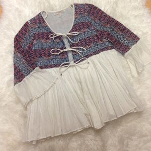 Zara ethnic Boho jacket white pleats S